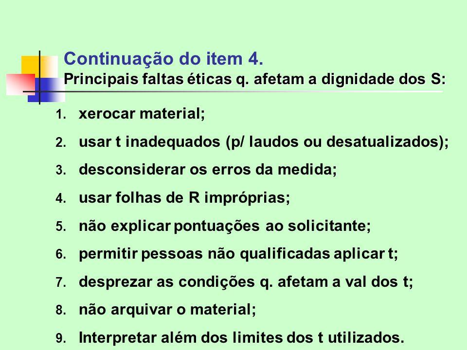 Continuação do item 4. Principais faltas éticas q