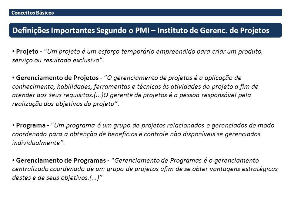 Conceitos Básicos Definições Importantes Segundo o PMI – Instituto de Gerenc. de Projetos.