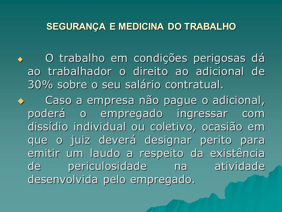 SEGURANÇA E MEDICINA DO TRABALHO