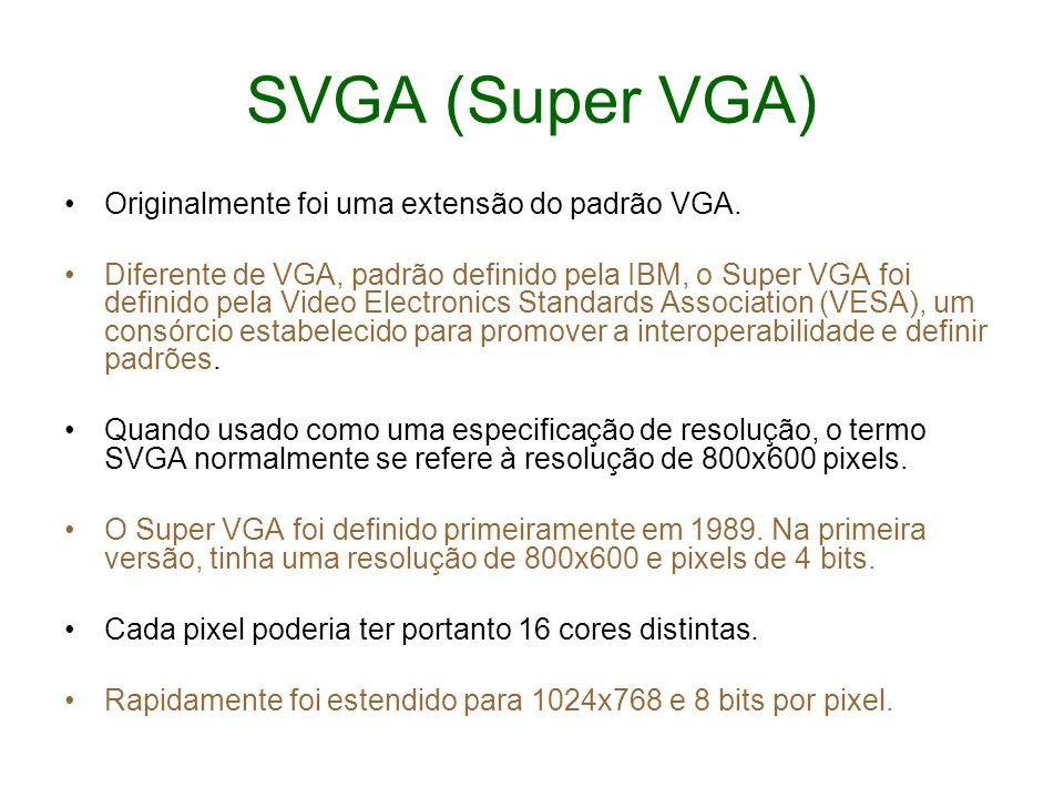 SVGA (Super VGA) Originalmente foi uma extensão do padrão VGA.