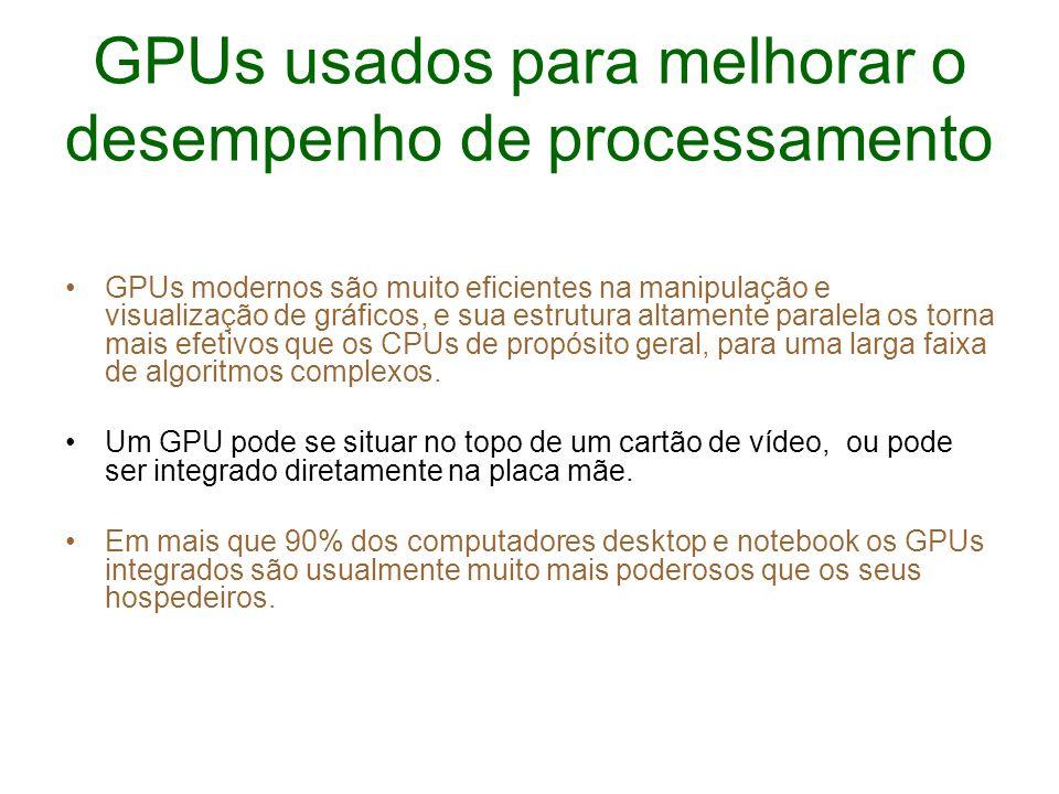 GPUs usados para melhorar o desempenho de processamento