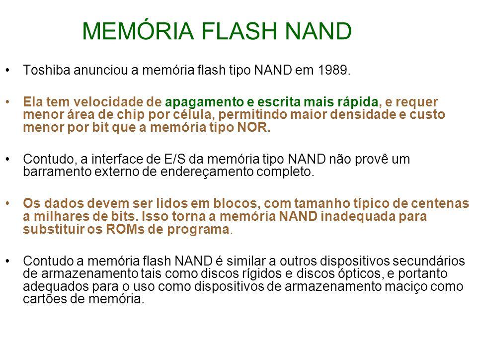 MEMÓRIA FLASH NAND Toshiba anunciou a memória flash tipo NAND em 1989.