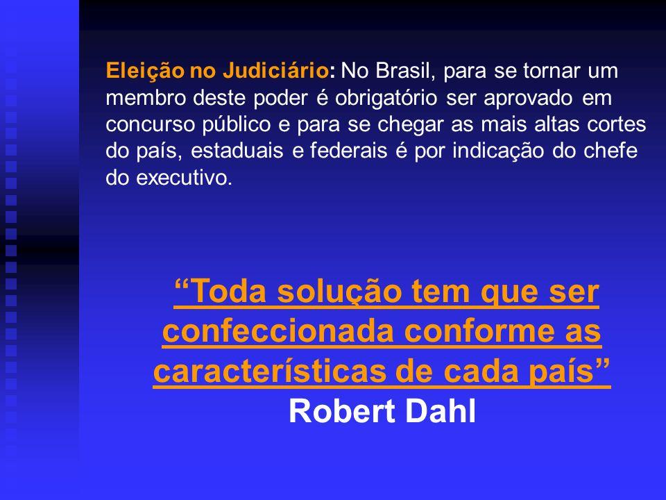 Eleição no Judiciário: No Brasil, para se tornar um membro deste poder é obrigatório ser aprovado em concurso público e para se chegar as mais altas cortes do país, estaduais e federais é por indicação do chefe do executivo.