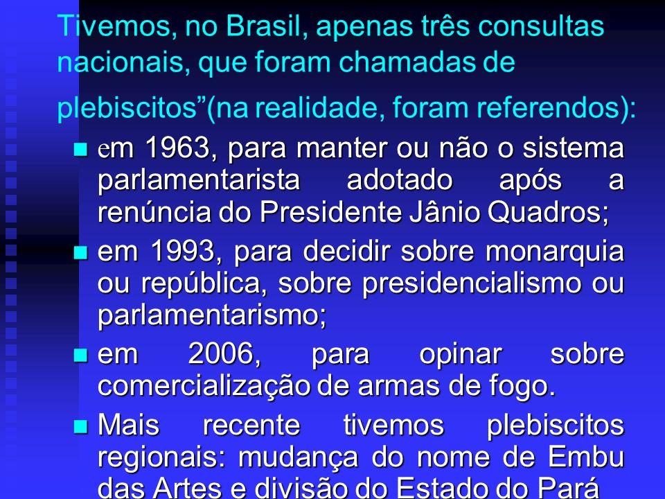 Tivemos, no Brasil, apenas três consultas nacionais, que foram chamadas de plebiscitos (na realidade, foram referendos):