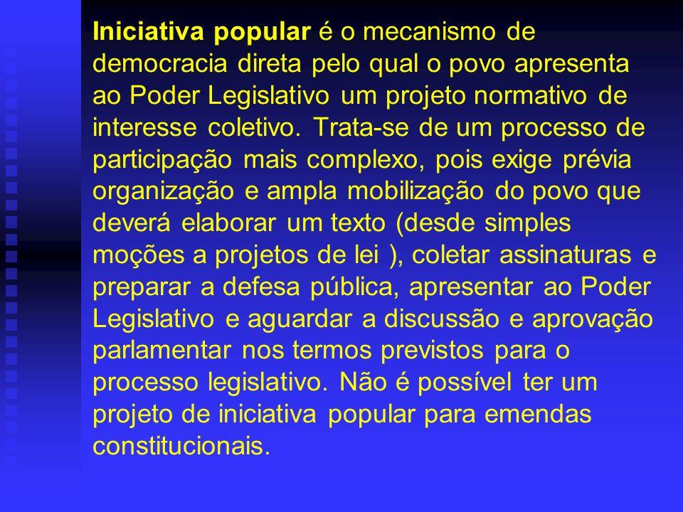 Iniciativa popular é o mecanismo de democracia direta pelo qual o povo apresenta ao Poder Legislativo um projeto normativo de interesse coletivo.
