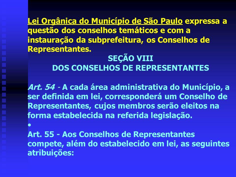 DOS CONSELHOS DE REPRESENTANTES