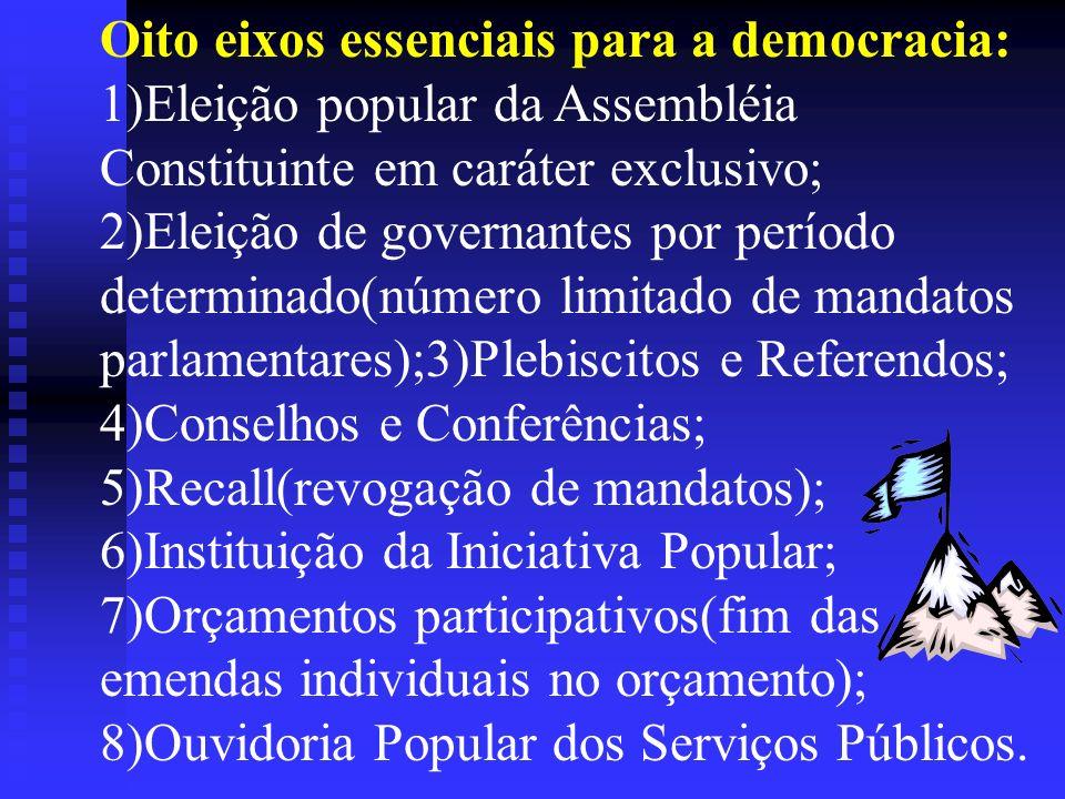 Oito eixos essenciais para a democracia: