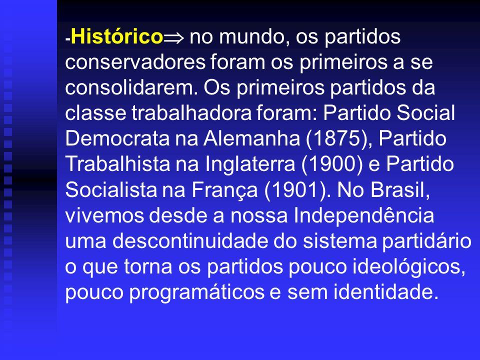 -Histórico no mundo, os partidos conservadores foram os primeiros a se consolidarem.
