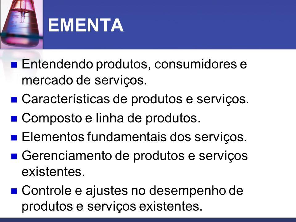 EMENTA Entendendo produtos, consumidores e mercado de serviços.