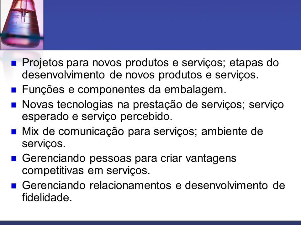 Projetos para novos produtos e serviços; etapas do desenvolvimento de novos produtos e serviços.