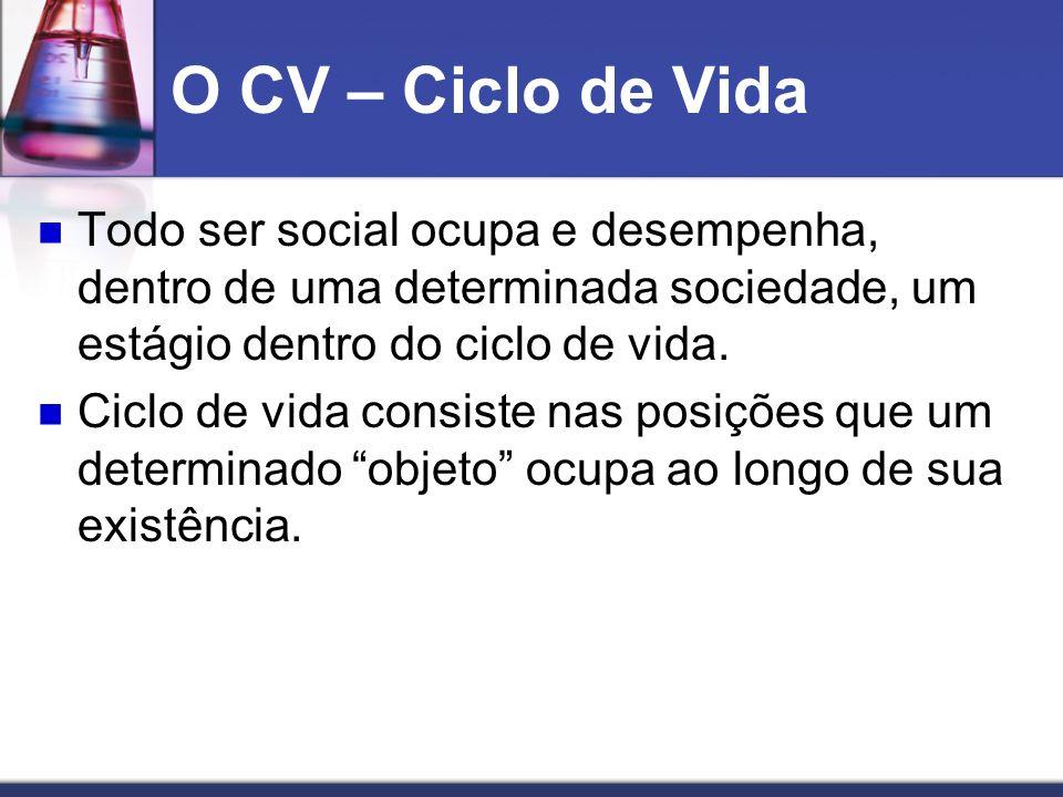 O CV – Ciclo de Vida Todo ser social ocupa e desempenha, dentro de uma determinada sociedade, um estágio dentro do ciclo de vida.