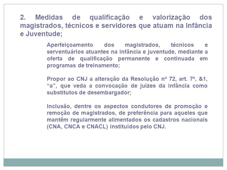 2. Medidas de qualificação e valorização dos magistrados, técnicos e servidores que atuam na Infância e Juventude;