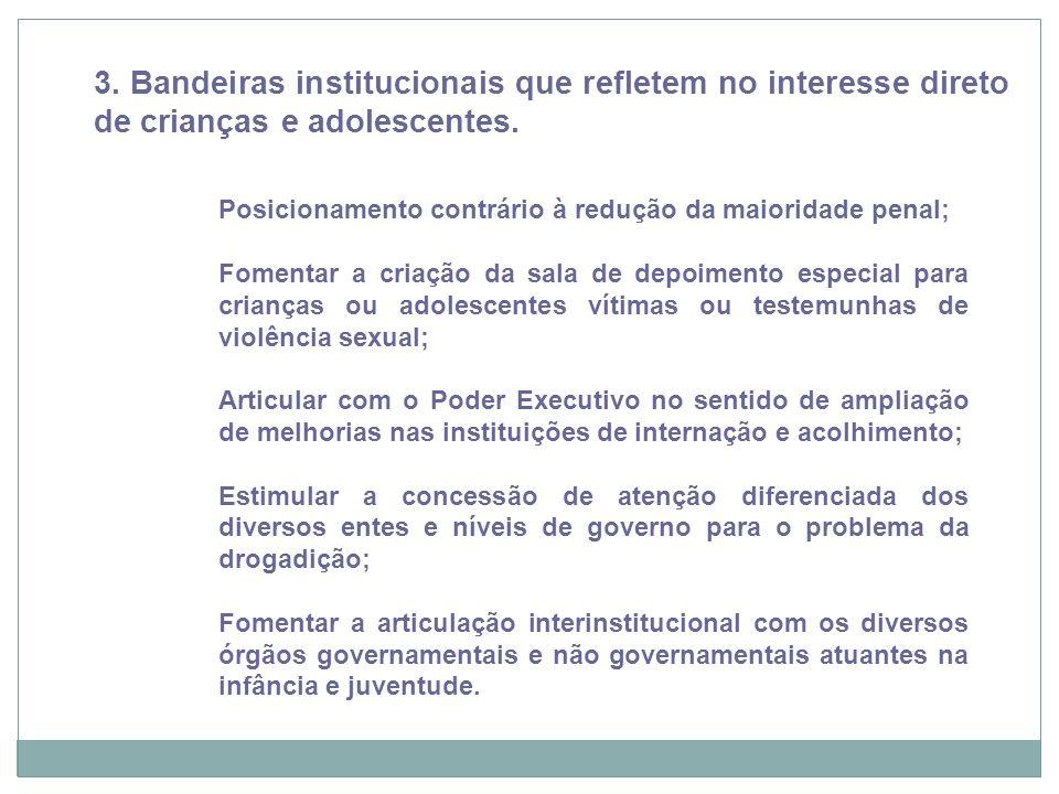 3. Bandeiras institucionais que refletem no interesse direto de crianças e adolescentes.