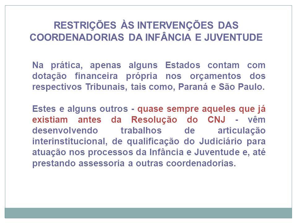 RESTRIÇÕES ÀS INTERVENÇÕES DAS COORDENADORIAS DA INFÂNCIA E JUVENTUDE