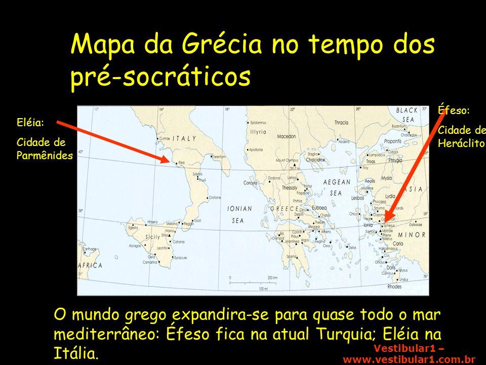 Mapa da Grécia no tempo dos pré-socráticos