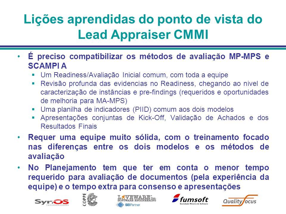 Lições aprendidas do ponto de vista do Lead Appraiser CMMI