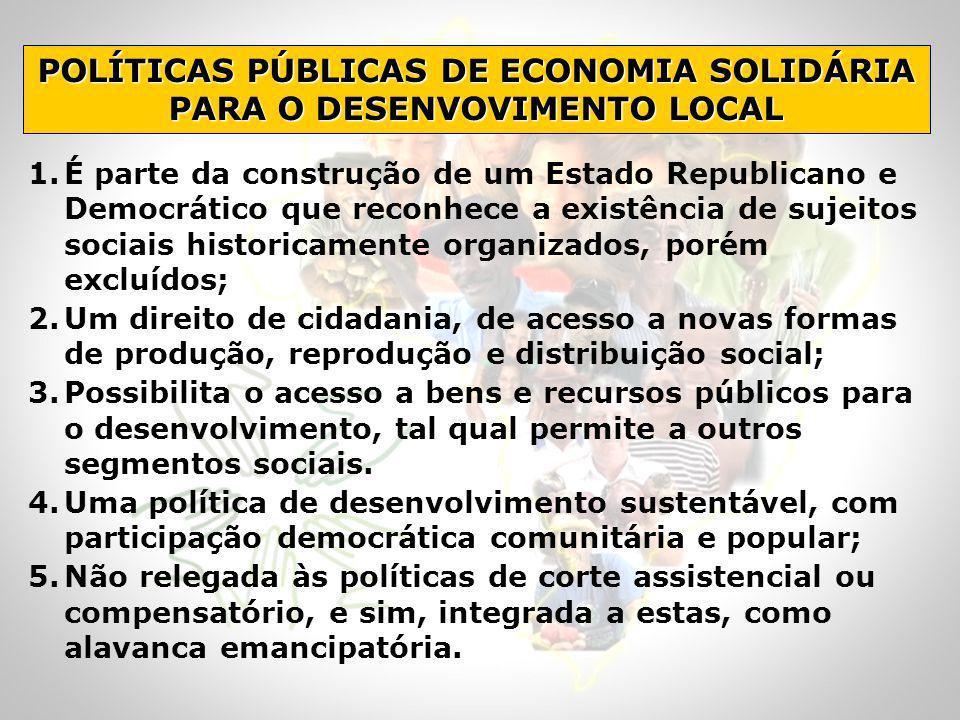 POLÍTICAS PÚBLICAS DE ECONOMIA SOLIDÁRIA PARA O DESENVOVIMENTO LOCAL