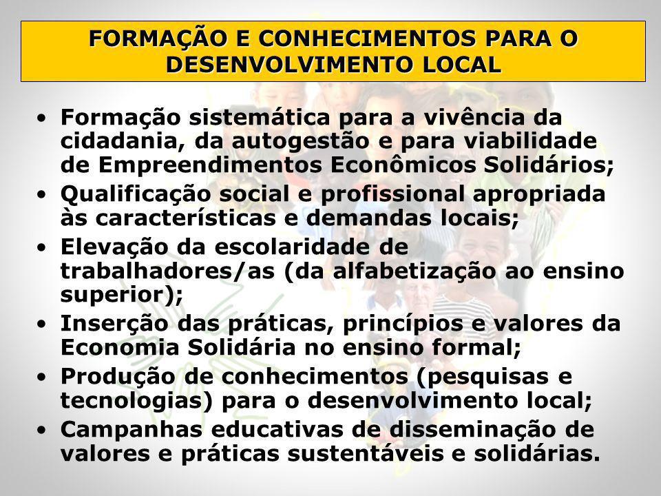 FORMAÇÃO E CONHECIMENTOS PARA O DESENVOLVIMENTO LOCAL