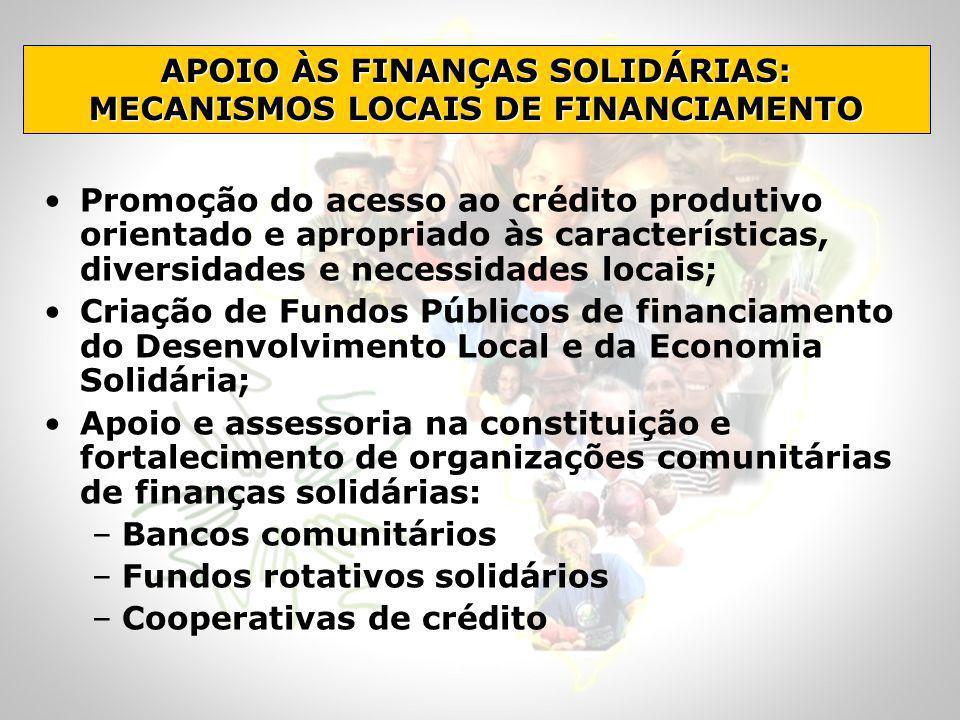 APOIO ÀS FINANÇAS SOLIDÁRIAS: MECANISMOS LOCAIS DE FINANCIAMENTO