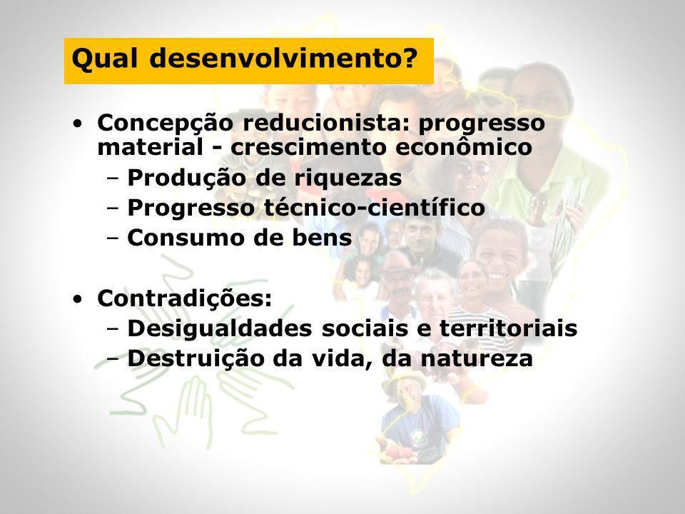 Qual desenvolvimento Concepção reducionista: progresso material - crescimento econômico. Produção de riquezas.