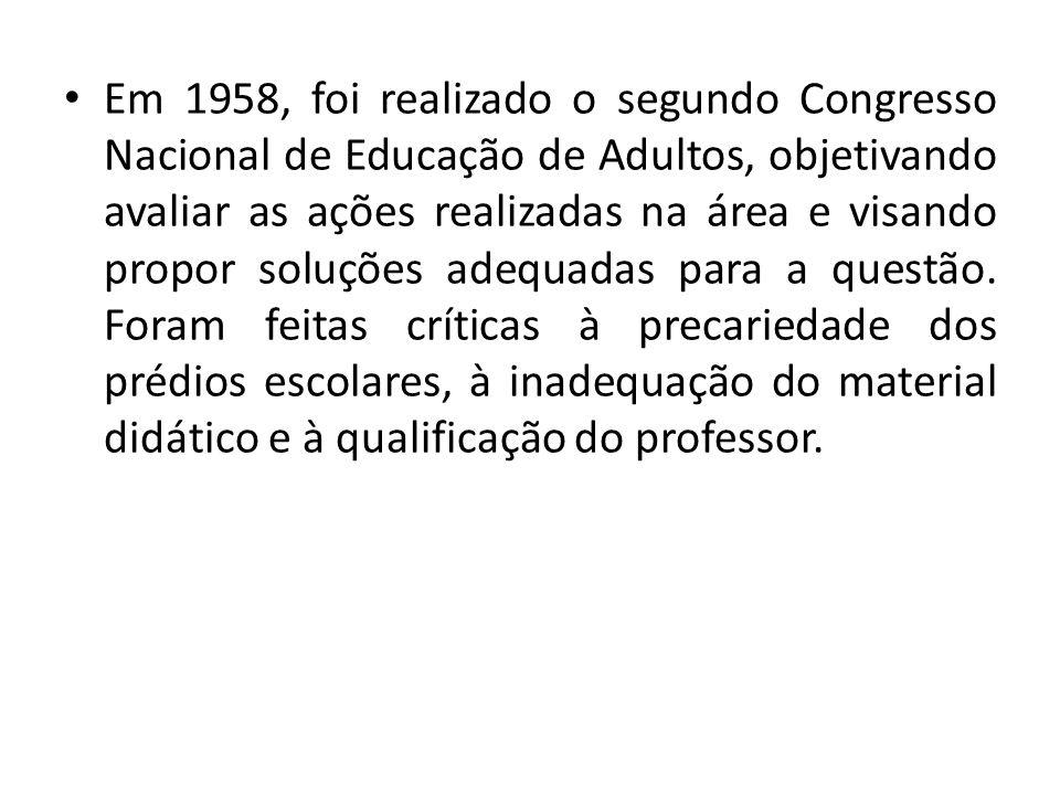 Em 1958, foi realizado o segundo Congresso Nacional de Educação de Adultos, objetivando avaliar as ações realizadas na área e visando propor soluções adequadas para a questão.
