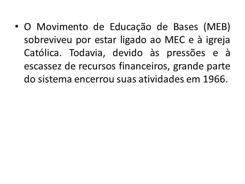 O Movimento de Educação de Bases (MEB) sobreviveu por estar ligado ao MEC e à igreja Católica.