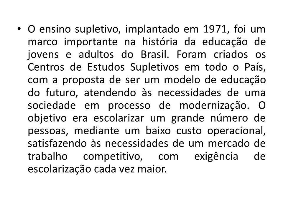 O ensino supletivo, implantado em 1971, foi um marco importante na história da educação de jovens e adultos do Brasil.