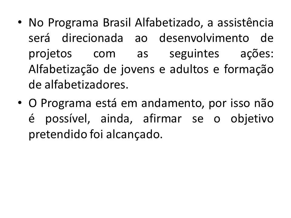 No Programa Brasil Alfabetizado, a assistência será direcionada ao desenvolvimento de projetos com as seguintes ações: Alfabetização de jovens e adultos e formação de alfabetizadores.
