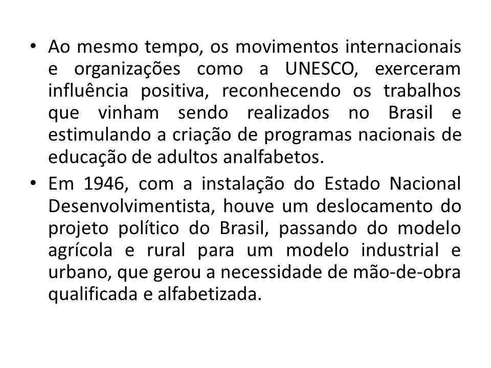 Ao mesmo tempo, os movimentos internacionais e organizações como a UNESCO, exerceram influência positiva, reconhecendo os trabalhos que vinham sendo realizados no Brasil e estimulando a criação de programas nacionais de educação de adultos analfabetos.