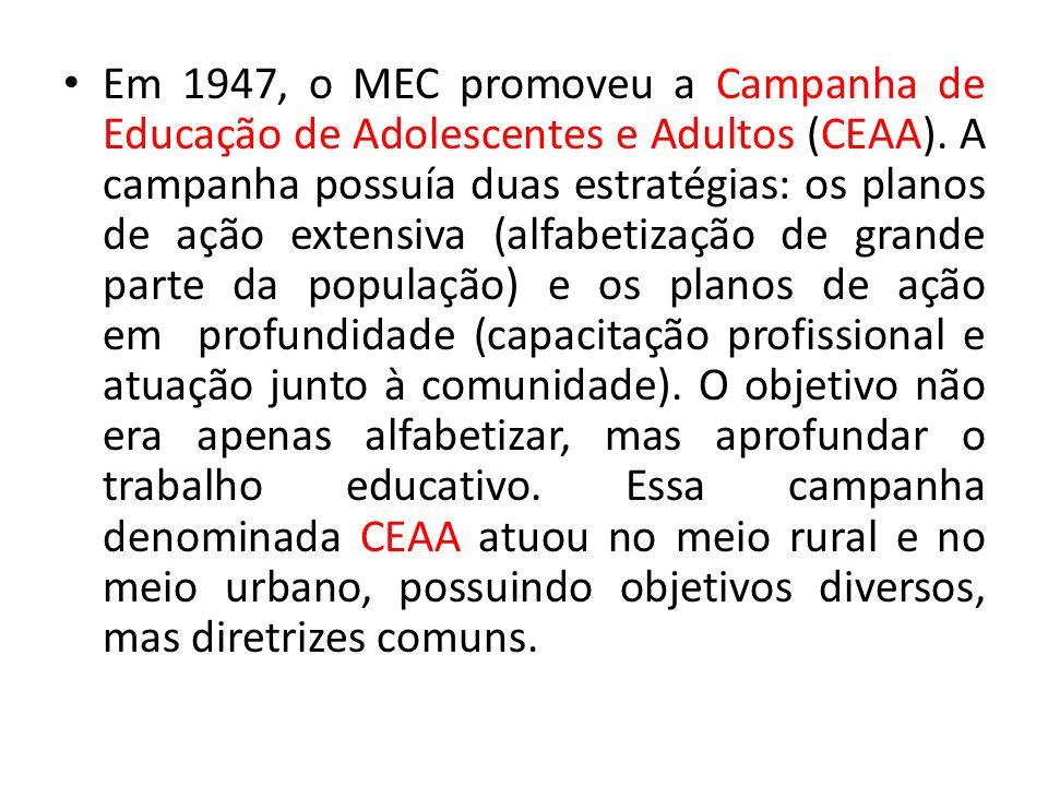 Em 1947, o MEC promoveu a Campanha de Educação de Adolescentes e Adultos (CEAA).