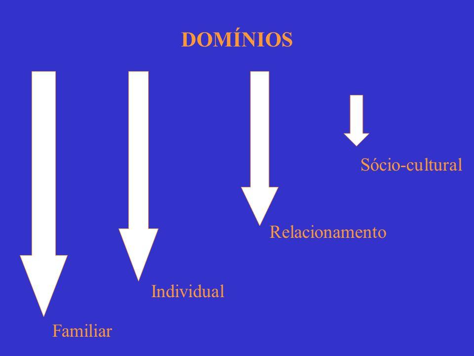 DOMÍNIOS Sócio-cultural Relacionamento Individual Familiar
