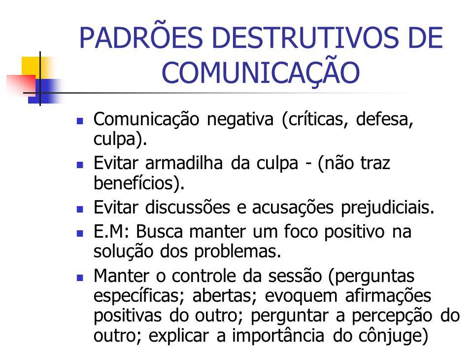 PADRÕES DESTRUTIVOS DE COMUNICAÇÃO