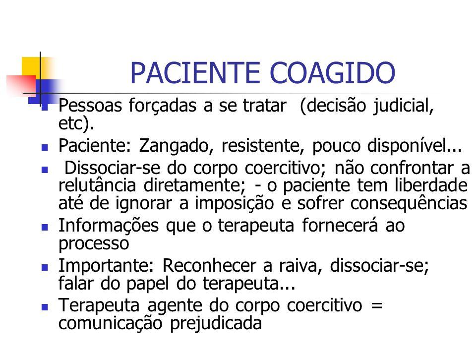 PACIENTE COAGIDO Pessoas forçadas a se tratar (decisão judicial, etc).