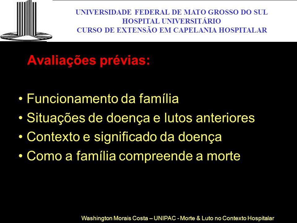 Avaliações prévias: • Funcionamento da família