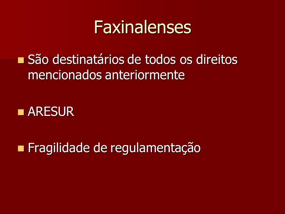 Faxinalenses São destinatários de todos os direitos mencionados anteriormente.