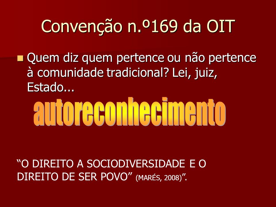 Convenção n.º169 da OIT autoreconhecimento