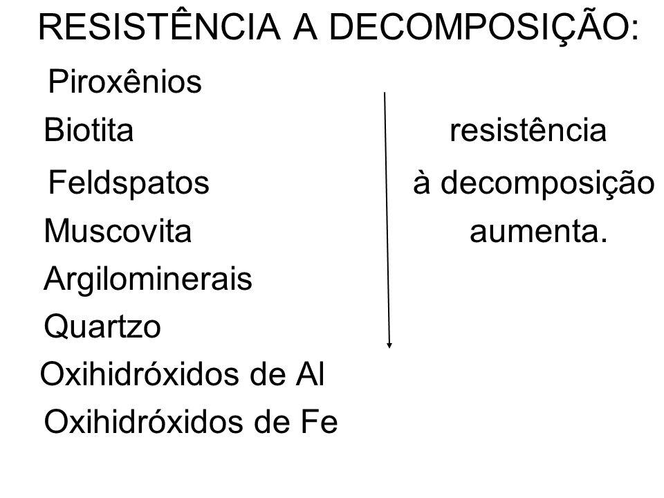 RESISTÊNCIA A DECOMPOSIÇÃO: Piroxênios Feldspatos à decomposição