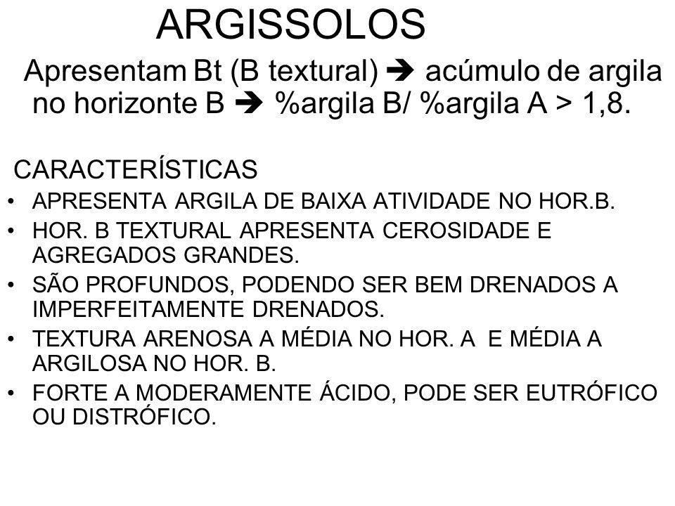 ARGISSOLOSApresentam Bt (B textural)  acúmulo de argila no horizonte B  %argila B/ %argila A > 1,8.