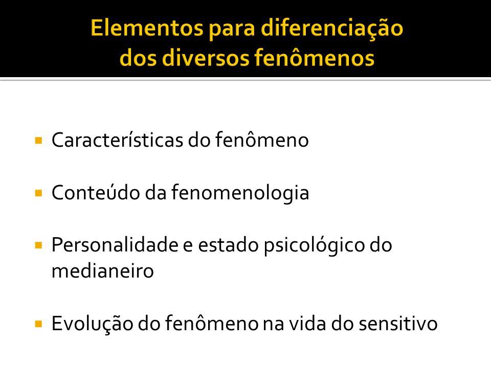 Elementos para diferenciação dos diversos fenômenos