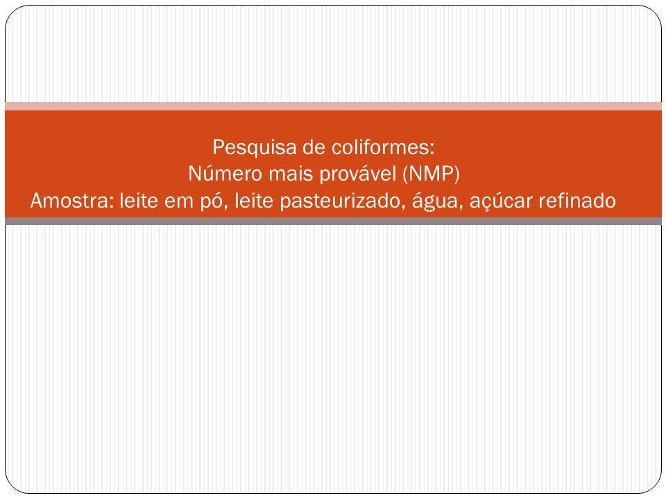 Pesquisa de coliformes: Número mais provável (NMP) Amostra: leite em pó, leite pasteurizado, água, açúcar refinado