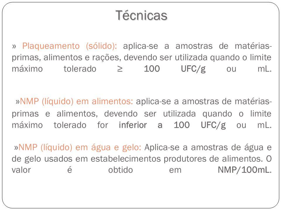 Técnicas » Plaqueamento (sólido): aplica-se a amostras de matérias-primas, alimentos e rações, devendo ser utilizada quando o limite máximo tolerado ≥ 100 UFC/g ou mL.
