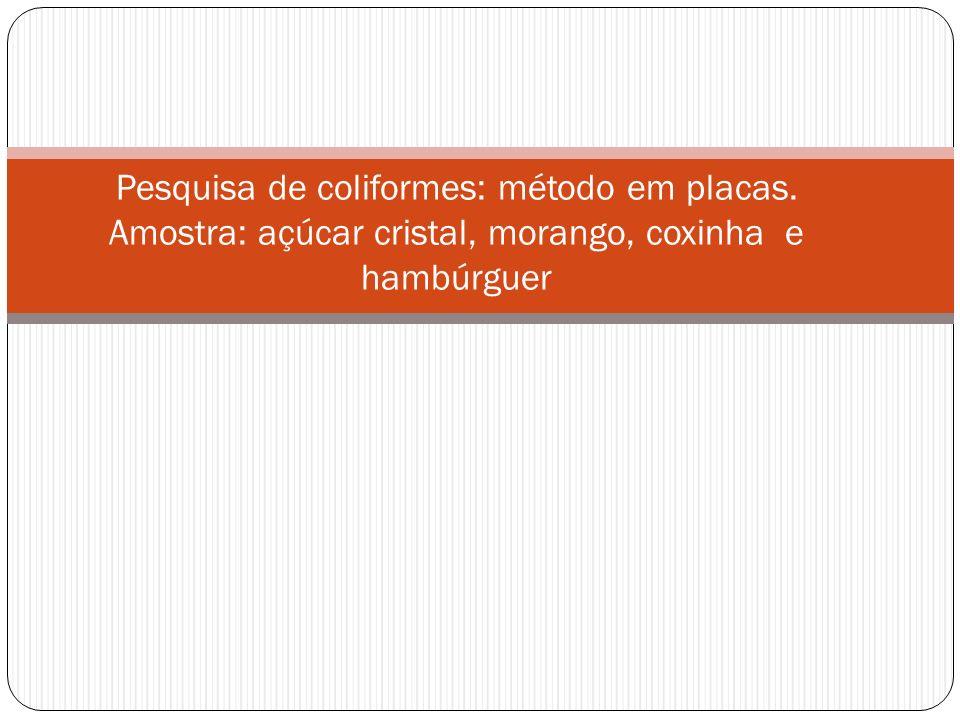 Pesquisa de coliformes: método em placas