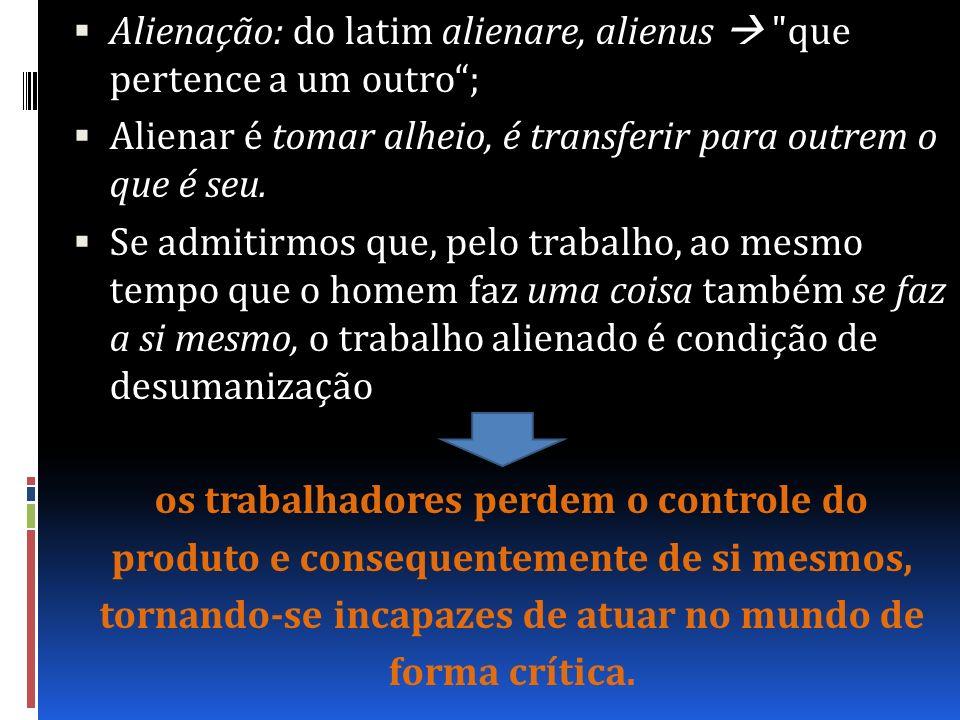 Alienação: do latim alienare, alienus  que pertence a um outro ;