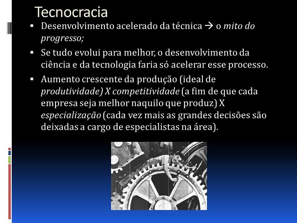 Tecnocracia Desenvolvimento acelerado da técnica  o mito do progresso;