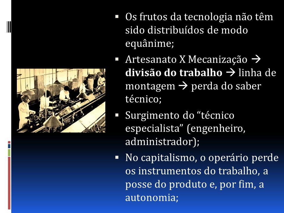 Os frutos da tecnologia não têm sido distribuídos de modo equânime;