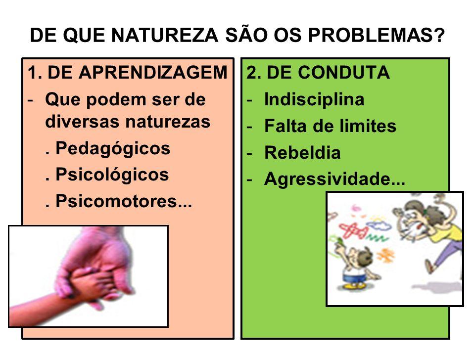 DE QUE NATUREZA SÃO OS PROBLEMAS