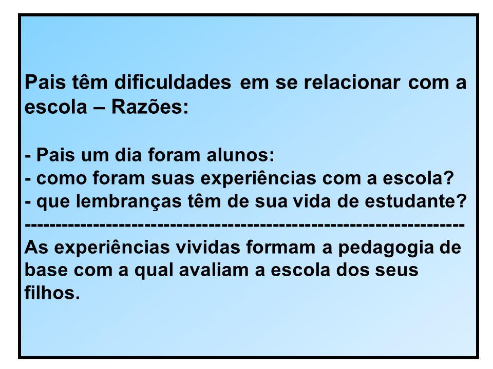 Pais têm dificuldades em se relacionar com a escola – Razões: - Pais um dia foram alunos: - como foram suas experiências com a escola.