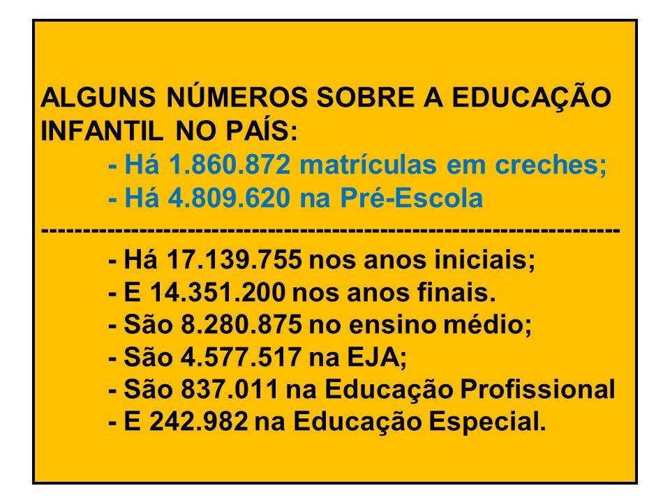 ALGUNS NÚMEROS SOBRE A EDUCAÇÃO INFANTIL NO PAÍS:. - Há 1. 860