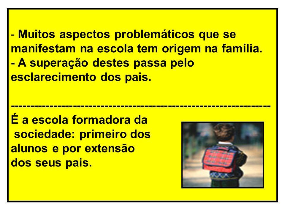 Muitos aspectos problemáticos que se manifestam na escola tem origem na família.