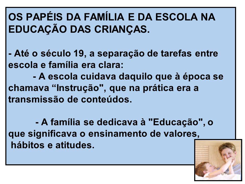 OS PAPÉIS DA FAMÍLIA E DA ESCOLA NA EDUCAÇÃO DAS CRIANÇAS